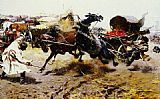 Josef von Brandt The Runaway Cart painting
