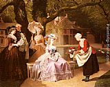Joseph Caraud Marie Antoinette and Louis XVI in the Garden of the Tuileries with Madame Lambale painting