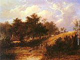 Joseph Thors Landscape with figure resting beside a pond painting