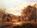 Joseph Thors Landscape with figures outside a thatched cottage painting