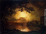 Joseph Wright of Derby Firework Display at the Castel Sant' Angelo in Rome painting