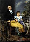 Joseph-Denis Odevaere Portrait of a Prominent Gentleman with his Daughter and Hunting Dog painting