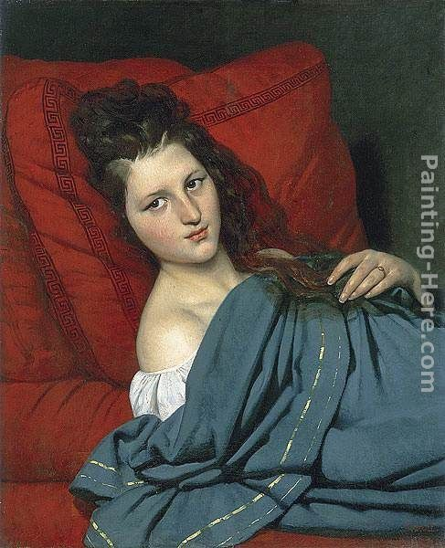Joseph-Desire Court Half-length Woman Lying on a Couch