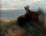 Jozef Israels A Fishergirl On A Dunetop Overlooking The Sea painting