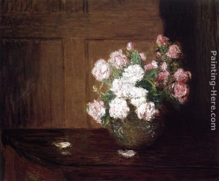 Julian Alden Weir Roses in a Silver Bowl on a Mahogany Table