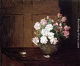 Julian Alden Weir Roses in a Silver Bowl on a Mahogany Table painting
