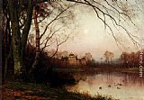 Julius Jacobus Van De Sande Bakhuyzen A Woodland With Ducks In A Pond painting