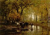 Julius Jacobus Van De Sande Bakhuyzen Watering Cows in a Pond painting