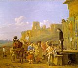 Karel Dujardin A Party of Charlatans in an Italian Landscape painting