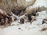 Karl Blechen Alpine Pass in Winter with Monks painting
