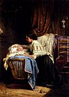 Leon Caille The Watchful Mother painting