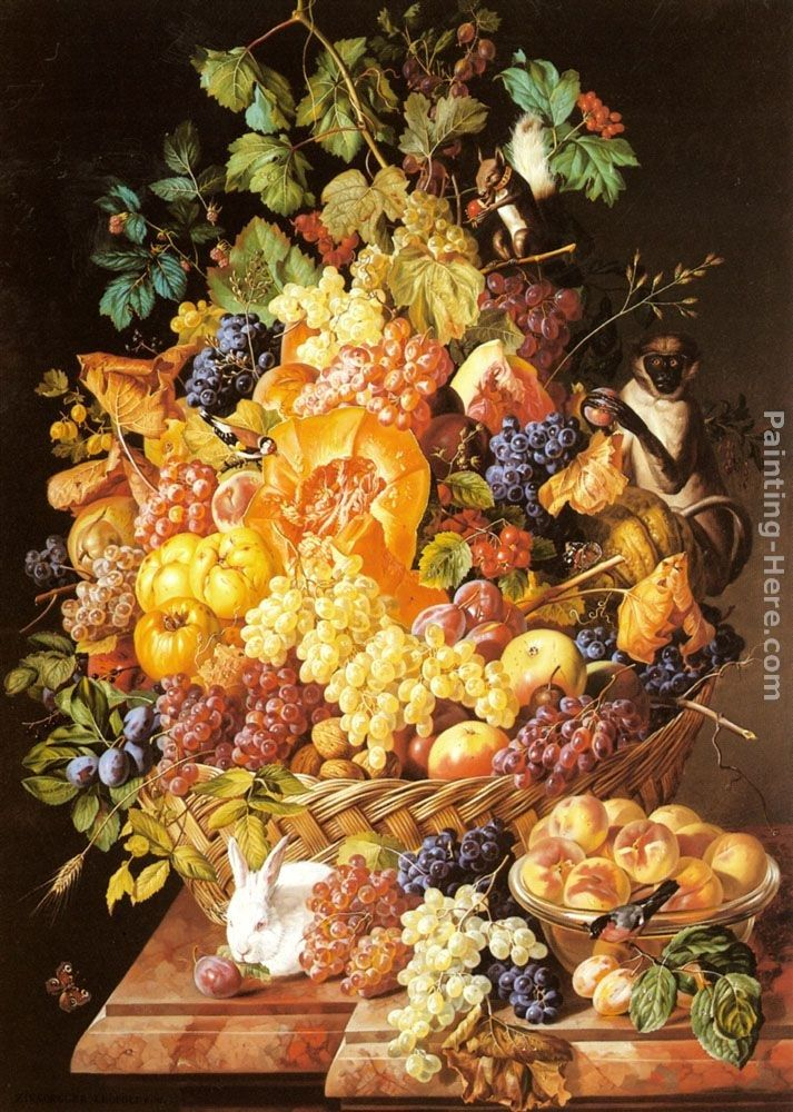 Leopold Zinnogger A Basket of Fruit with Animals