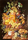 Leopold Zinnogger A Basket of Fruit with Animals painting