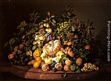 Leopold Zinnogger A Still Life of Fruit on a Marble Ledge painting