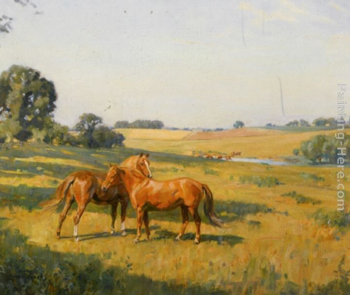 Lionel Edwards Mare and Foal in a Meadow