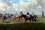 Lionel Edwards Lord Woolavington's Montrose And Lord Derby's Highlander At The Start Of The Free Handicap At Newmarket, April 6, 1933 painting