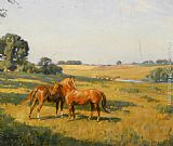 Lionel Edwards Mare and Foal in a Meadow painting