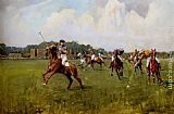 Lionel Edwards Playing Polo At Cowdray Park, West Sussex painting