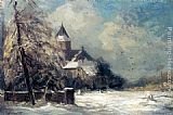 Louis Apol A Church In A Snow Covered Landscape painting