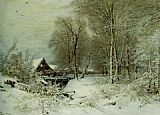 Louis Apol A Cottage in a Snowy Landscape painting