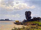 Louis Apol A Ferry In A Summer Landscape painting