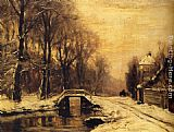 Louis Apol A Snowcovered Forest With A Bridge Across A Stream painting