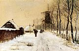 Louis Apol Wood Gatherers On A Country Lane In Winter painting