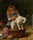 Louis Marie de Schryver Bath Day painting