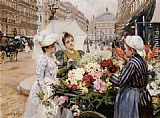 Louis Marie de Schryver The Flower Seller, Avenue de L'Opera, Paris painting