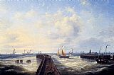Louis Verboeckhoven Fishing Boats Off A Jetty At Ostend painting
