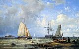 Louis Verboeckhoven Fishing Vessels by the Shore painting