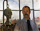 Lovis Corinth Self Portrait with Skeleton painting