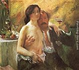 Lovis Corinth Self portrait with his Wife and a Glass of Champagne painting
