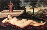 Lucas Cranach the Elder Reclining River Nymph at the Fountain painting