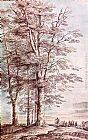 Lucas Van Uden Landscape with Tall Trees painting