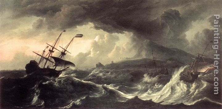Ludolf Backhuysen Ships Running Aground in a Storm