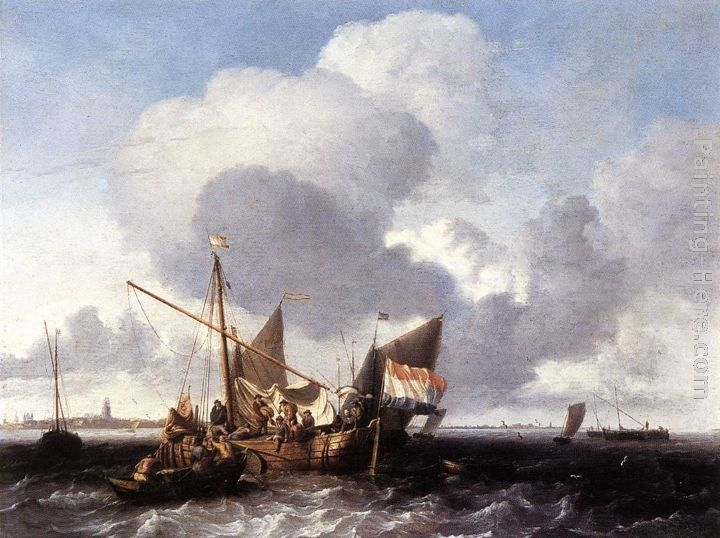 Ludolf Backhuysen Ships on the Zuiderzee before the Fort of Naarden