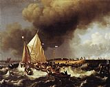 Ludolf Backhuysen Boats in a Storm painting