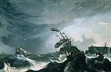 Ludolf Backhuysen Ships in Distress in a Heavy Storm painting