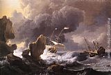 Ludolf Backhuysen Ships in Distress off a Rocky Coast painting