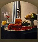 Luis Jose Estremadoyro Still Life with Bourbon and Lobster painting