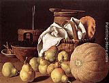 Luis Melendez Still-Life with Melon and Pears painting