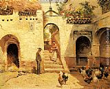 Manuel Garcia y Rodriguez Feeding Poultry in a Courtyard painting