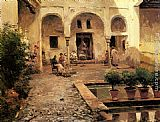 Manuel Garcia y Rodriguez Figures in a Spanish Courtyard painting