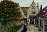 Maria Spartali Stillman Feeding The Doves At Kelmscott Manor, Oxfordshire painting