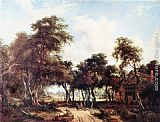 Meindert Hobbema Landscape with Woods and Cottage painting