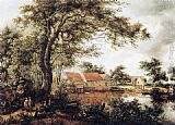 Meindert Hobbema Wooded Landscape with Water Mill painting
