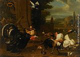 Melchior de Hondecoeter A Palace Garden with Exotic Birds and Farmyard Fowl painting