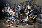 Modeste Carlier Roses Peaches Grapes and Game painting
