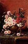 Modeste Carlier Still Life Of Roses And A Nautilus Cup On A Draped Table painting